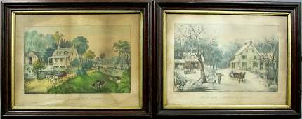 3363 Two 2 Currier  Ives Prints American Homestead