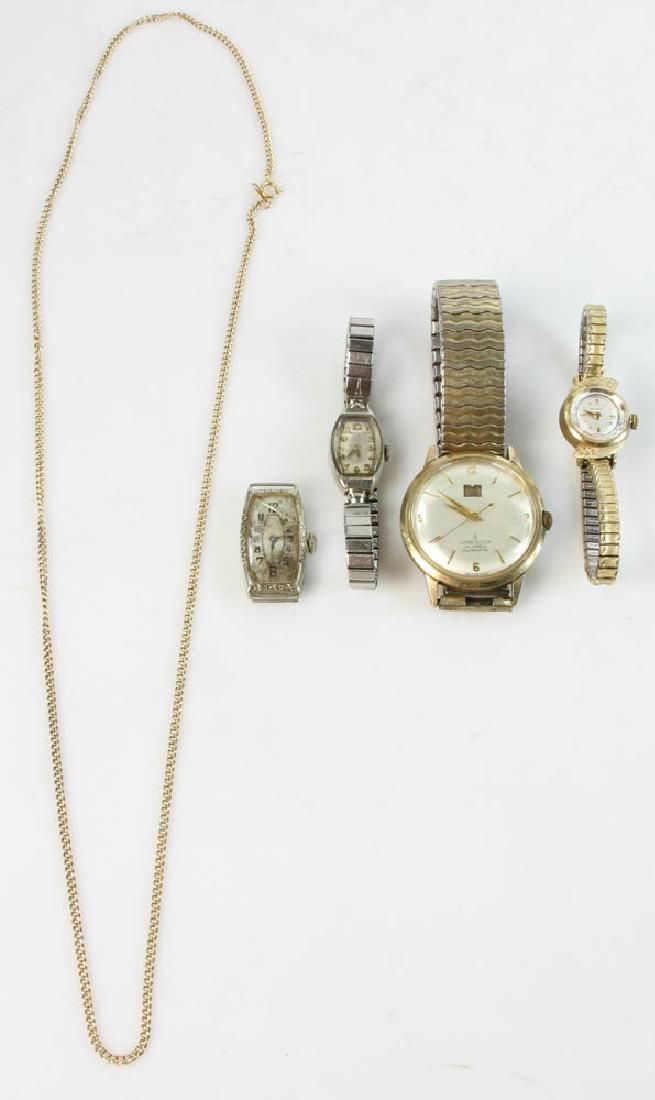 Four Gold Watches and 14k Gold Chain