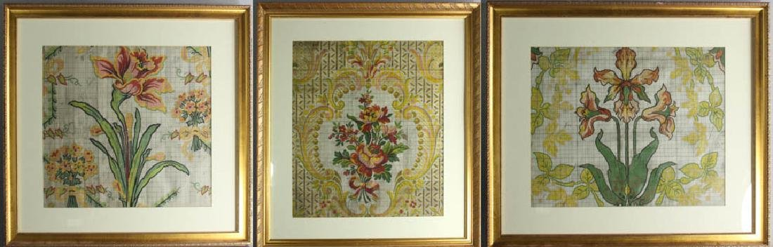Three French Gouache Paintings Florals