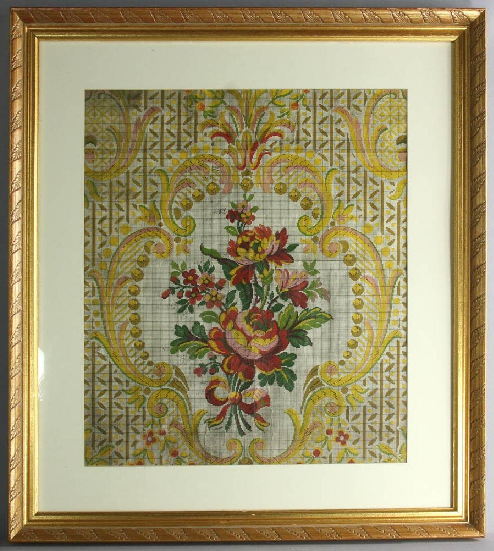 Three French Gouache Paintings Florals - 6