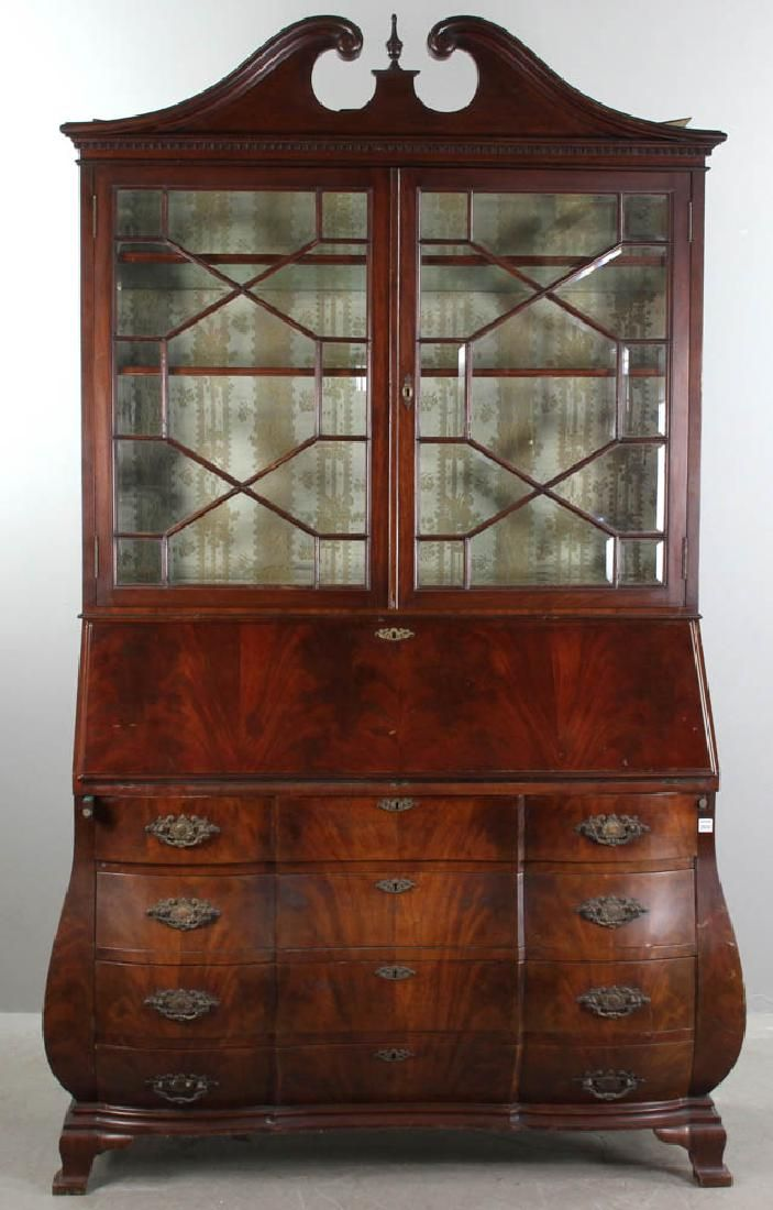 Bombe Secretary with Glass Front Cabinet