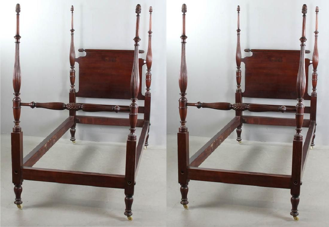 Pair of Antique Sheraton Style Twin Beds