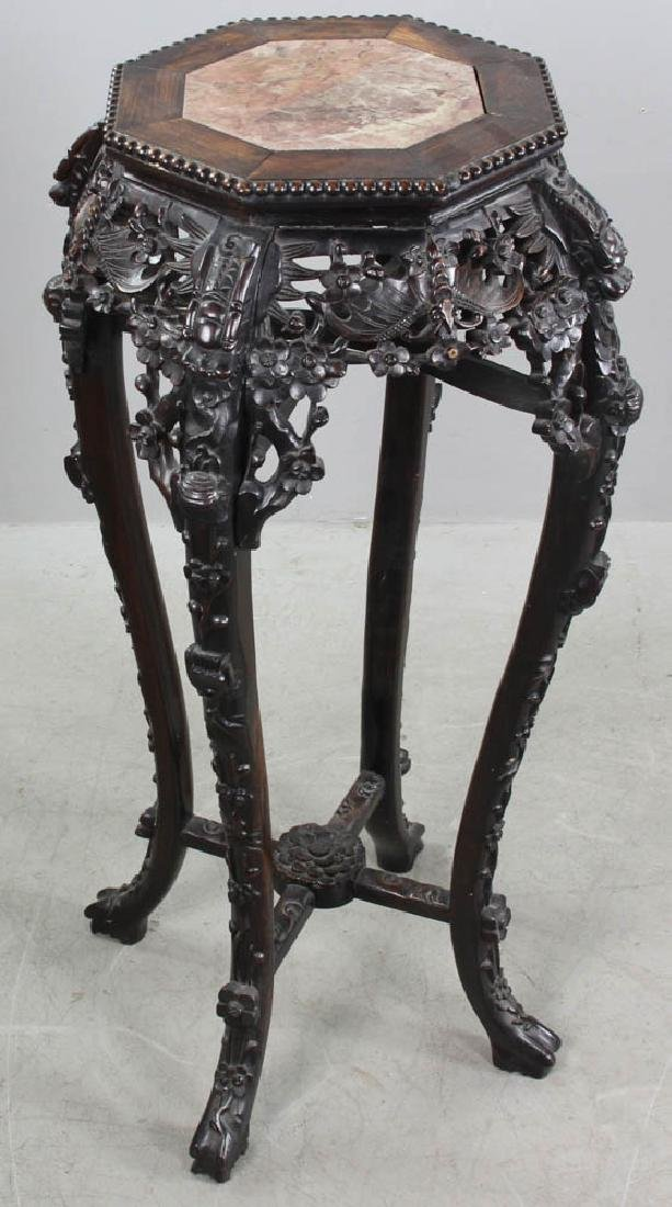 C1860 Chinese Export Carved Plant Stand - 3