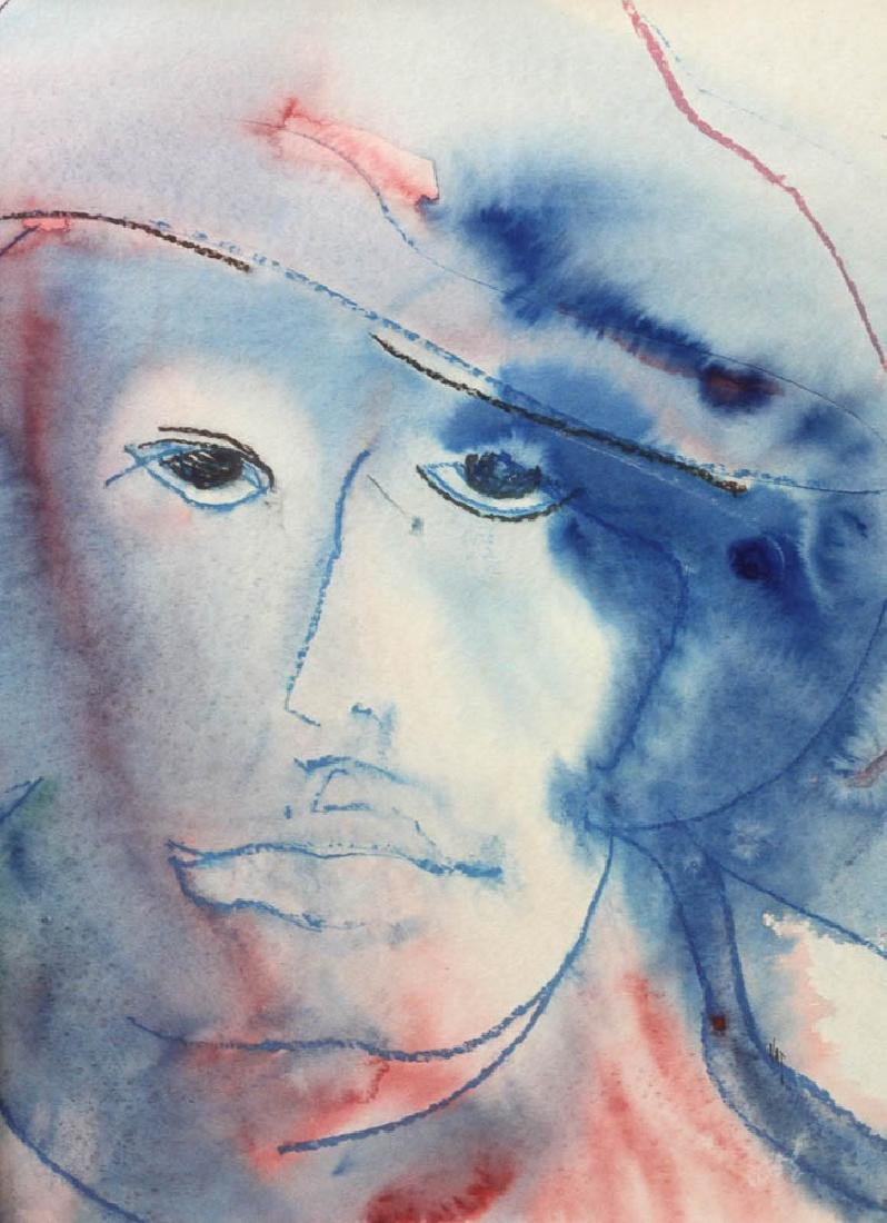 Watercolor Portrait of Man with Hat - 2