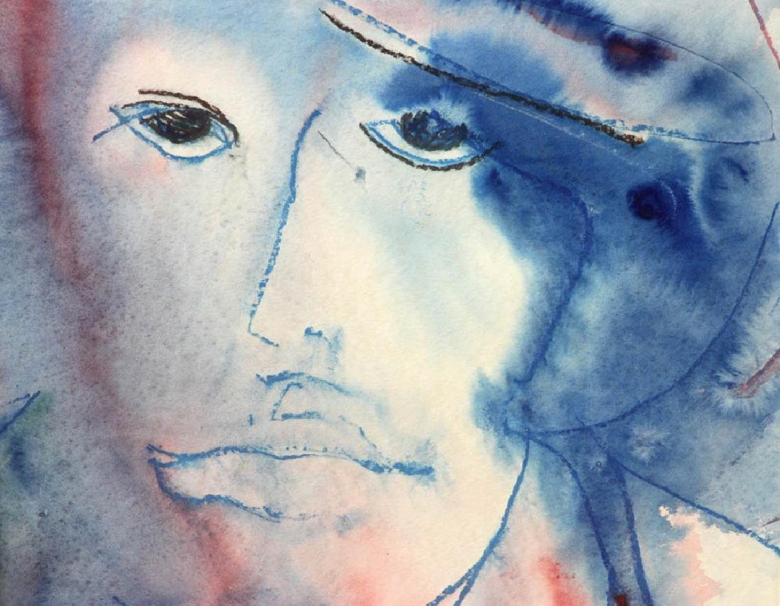 Watercolor Portrait of Man with Hat - 4