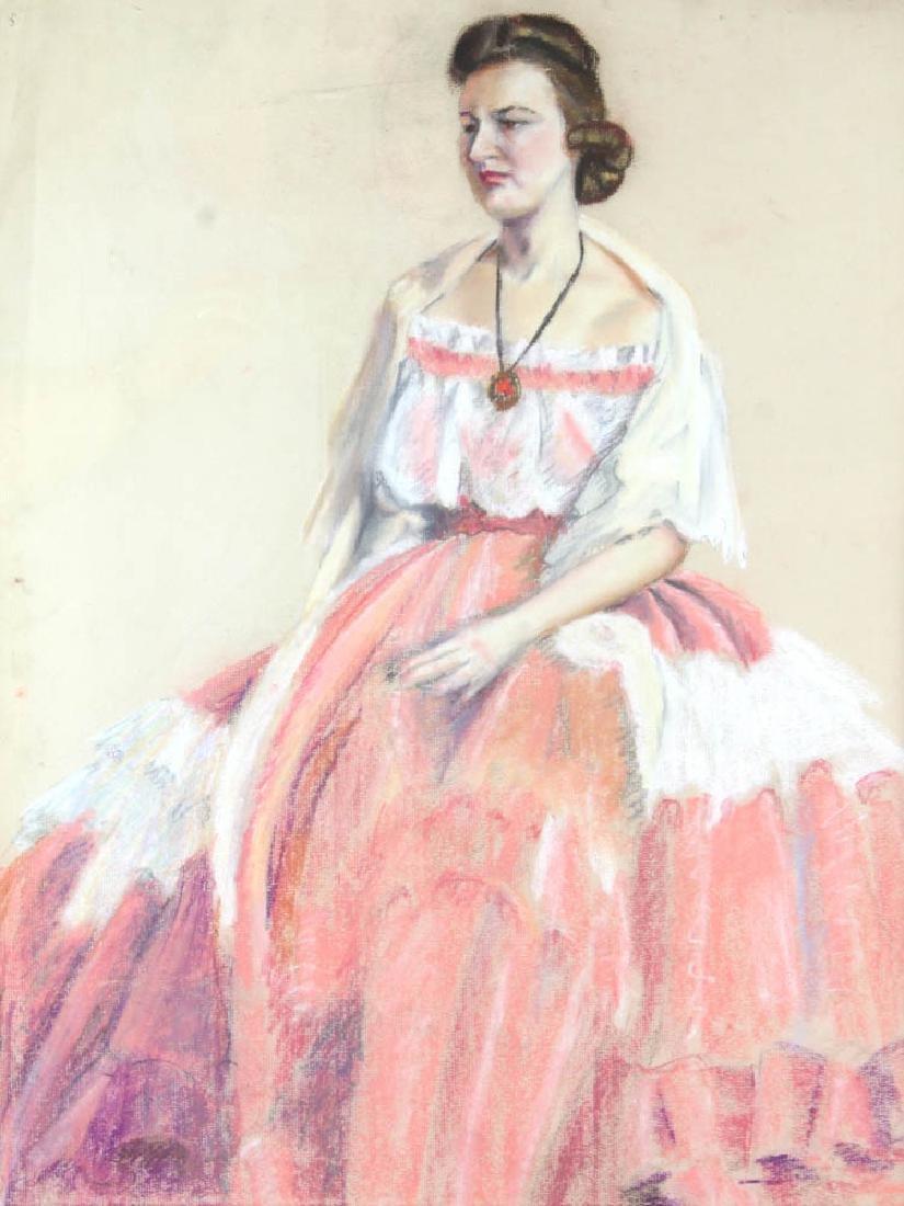 Jane Downs Carter Self Portrait Pastel on Artist Paper - 2