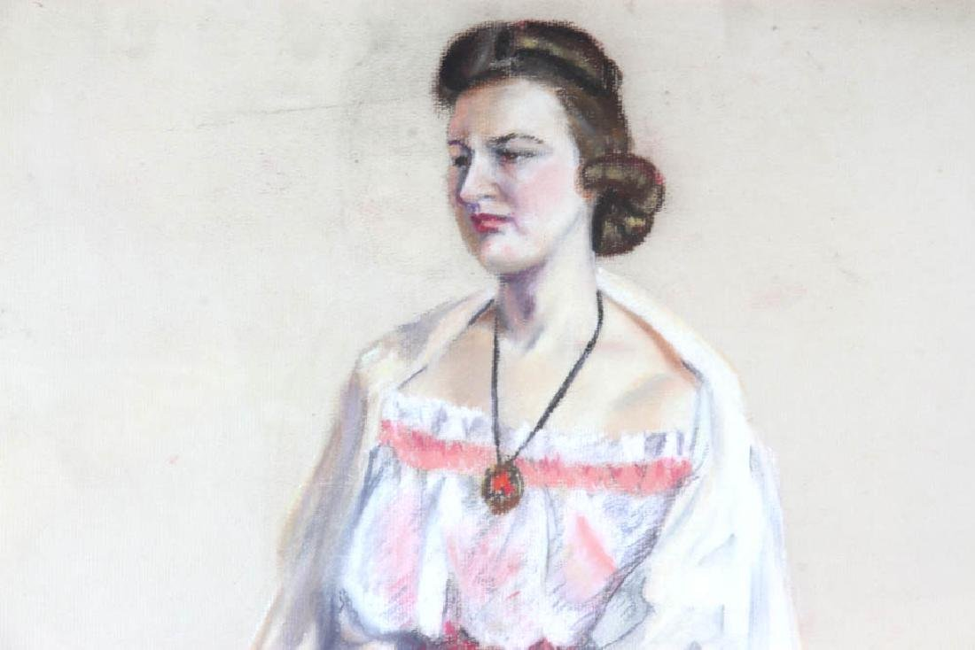 Jane Downs Carter Self Portrait Pastel on Artist Paper - 4