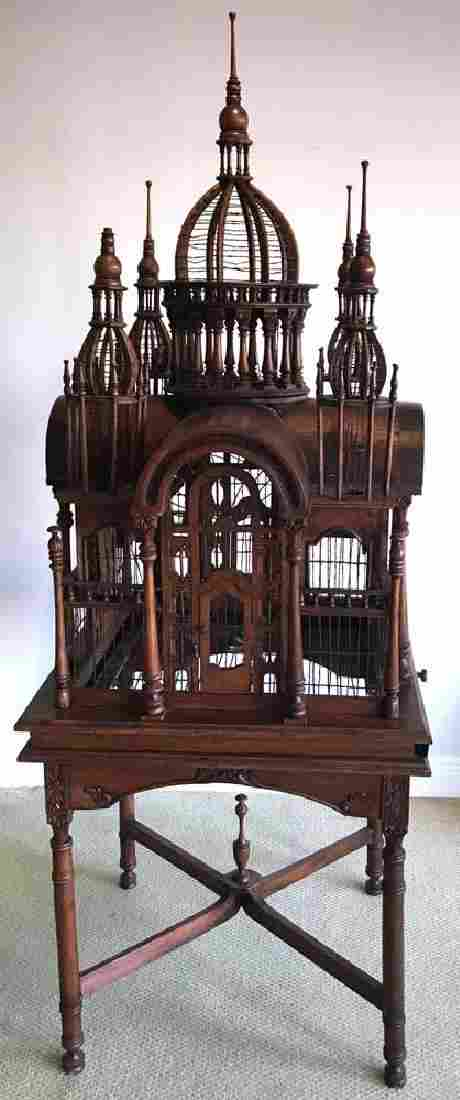 Victorian-style House Bird Cage on Stand
