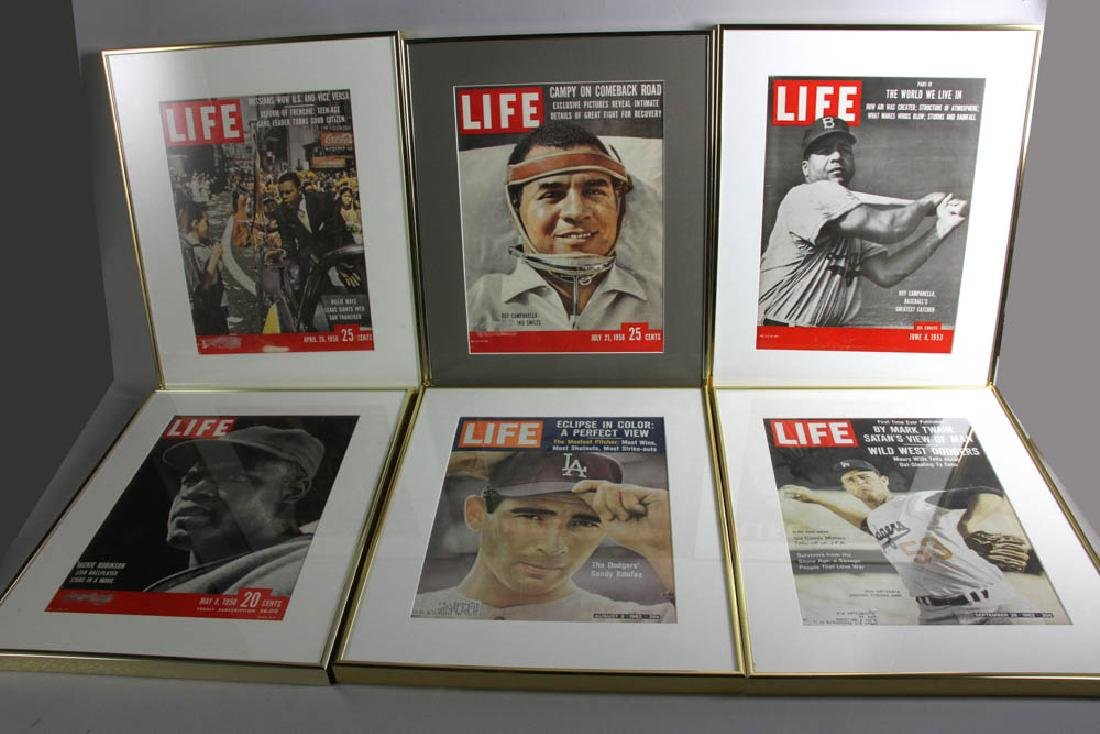 Framed Life Magazine Covers of Giants, Dodgers, Etc.