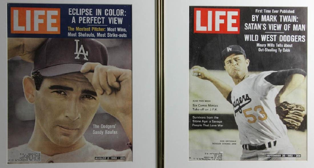 Framed Life Magazine Covers of Giants, Dodgers, Etc. - 4