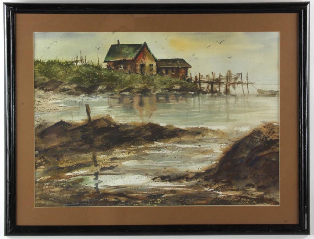 Edward Droege Signed Maine Seacoast Watercolor