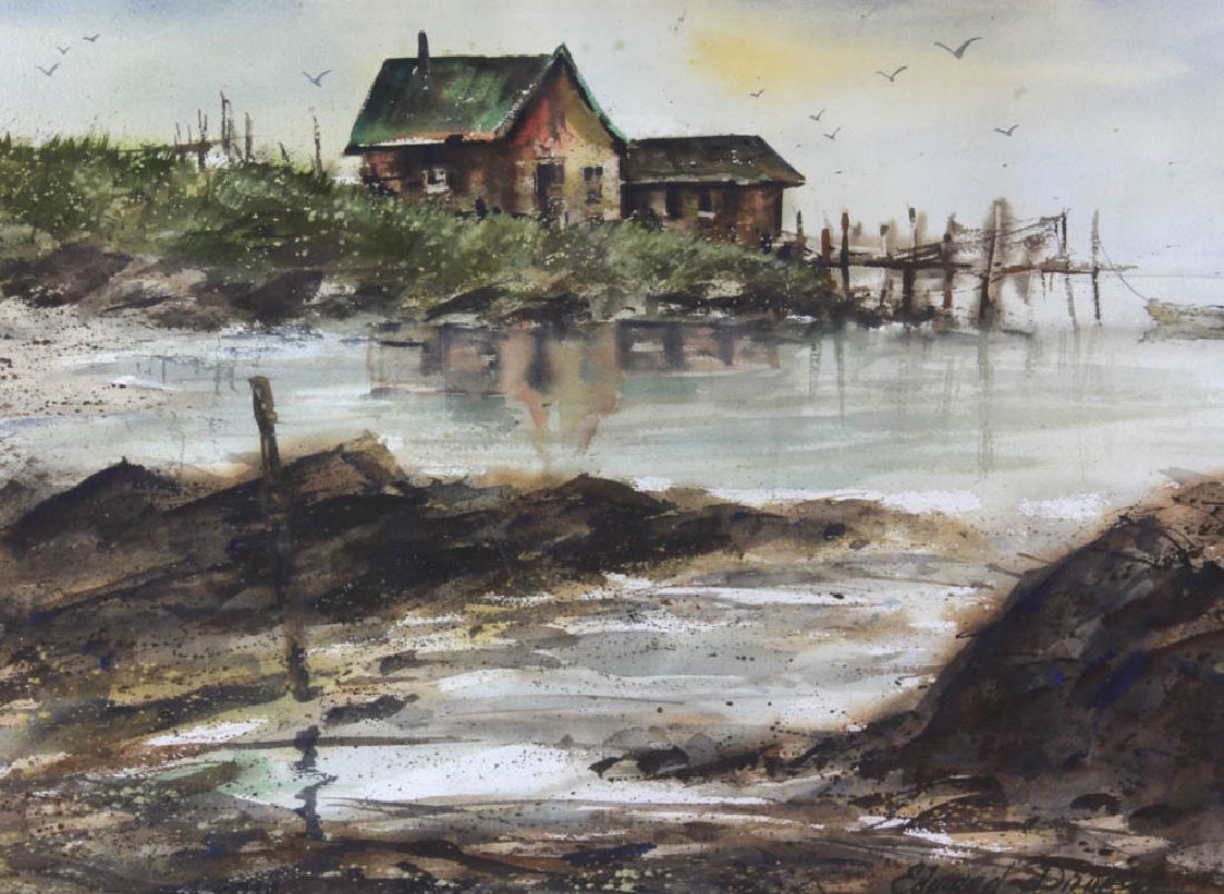 Edward Droege Signed Maine Seacoast Watercolor - 2
