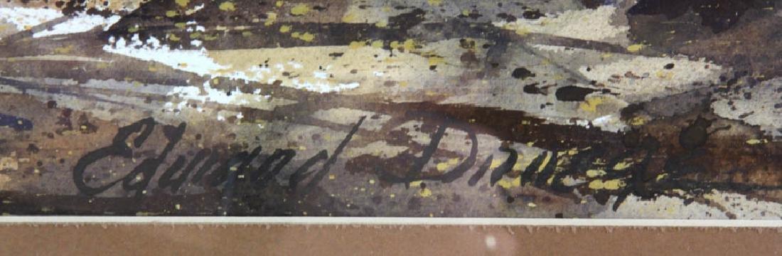 Edward Droege Signed Maine Seacoast Watercolor - 3