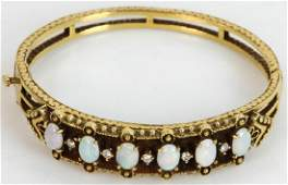 Ladies 14k Gold Opal and Diamond Bracelet