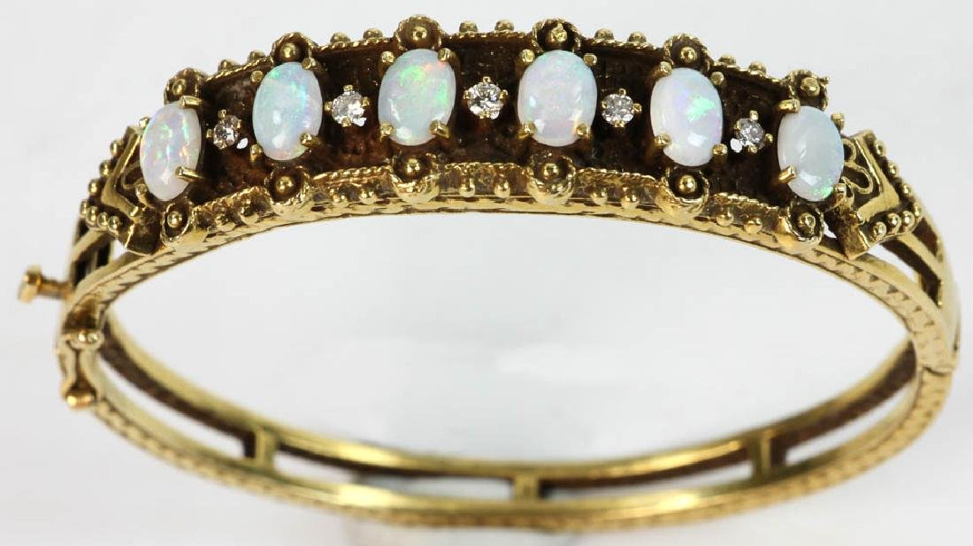 Ladies 14k Gold Opal and Diamond Bracelet - 4