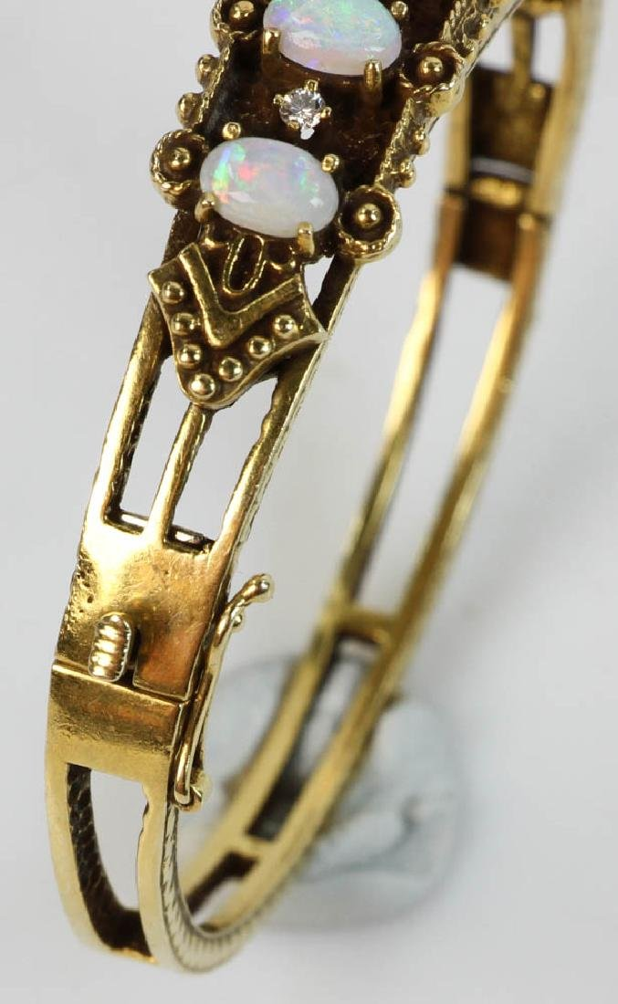 Ladies 14k Gold Opal and Diamond Bracelet - 5