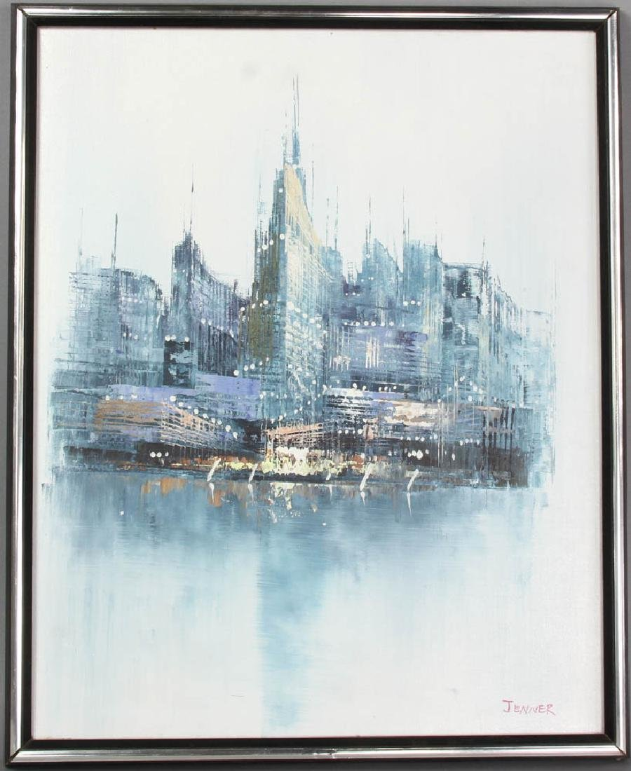 Jenner Abstract Cityscape Oil on Canvas