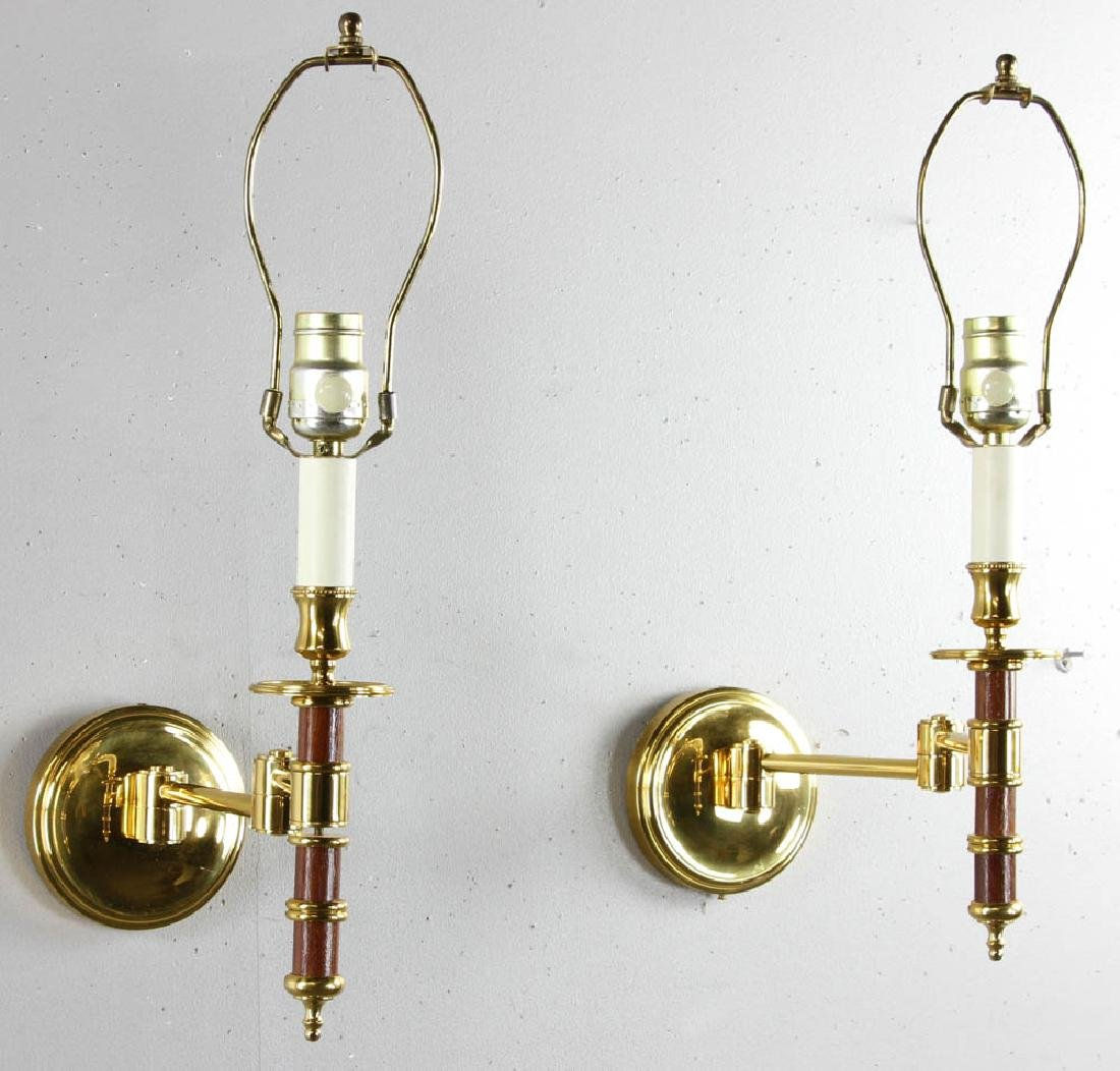 Pair of French Brass Reading Sconces - 2