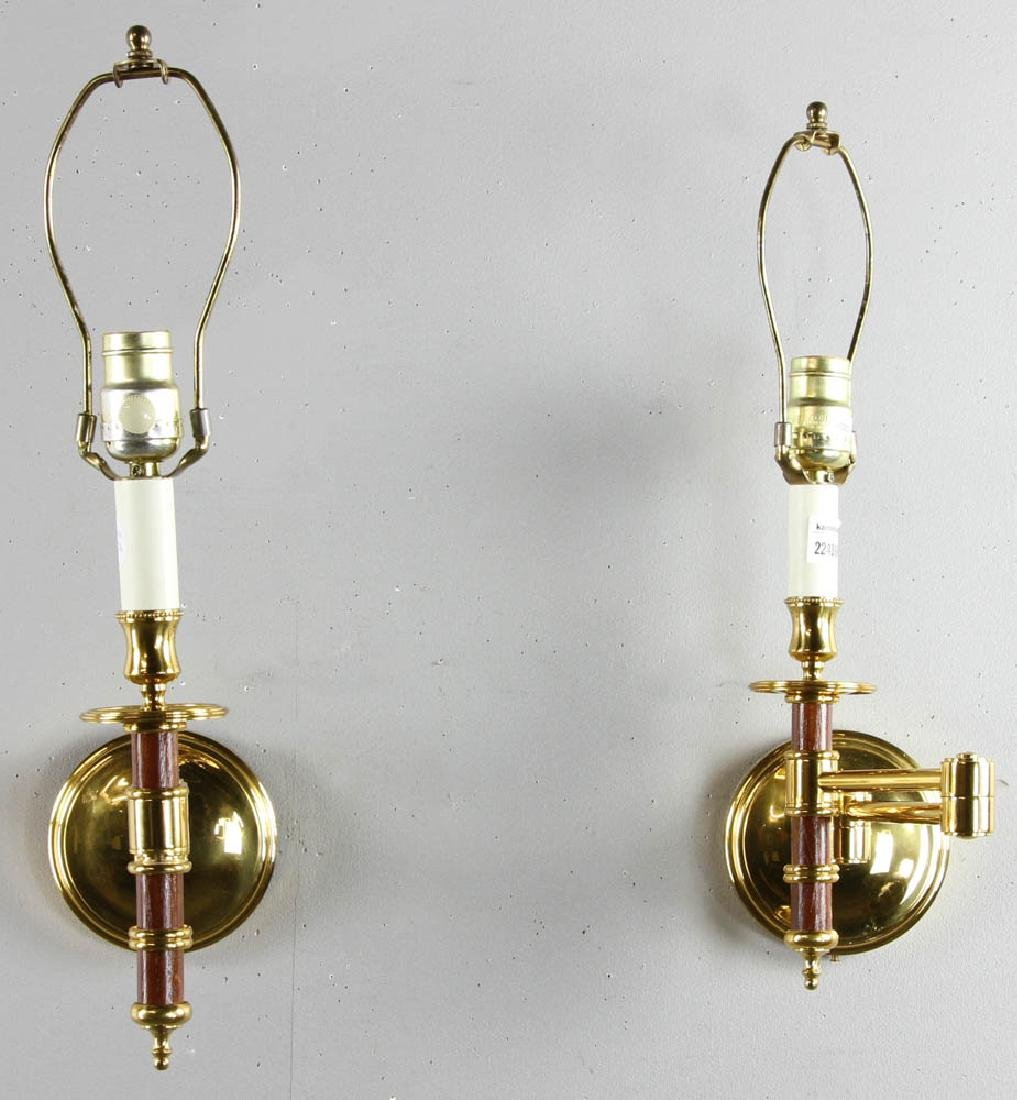 Pair of French Brass Reading Sconces - 5