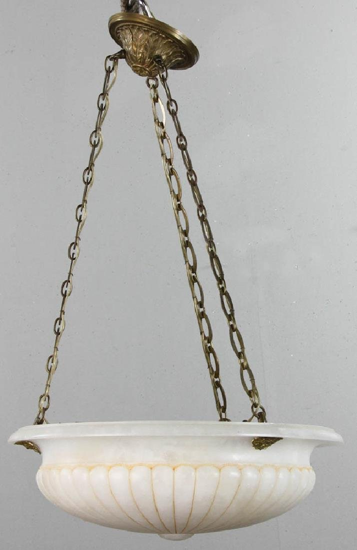 Antique Alabaster Ceiling Light Fixture