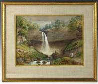 19thC Watercolor of a Waterfall