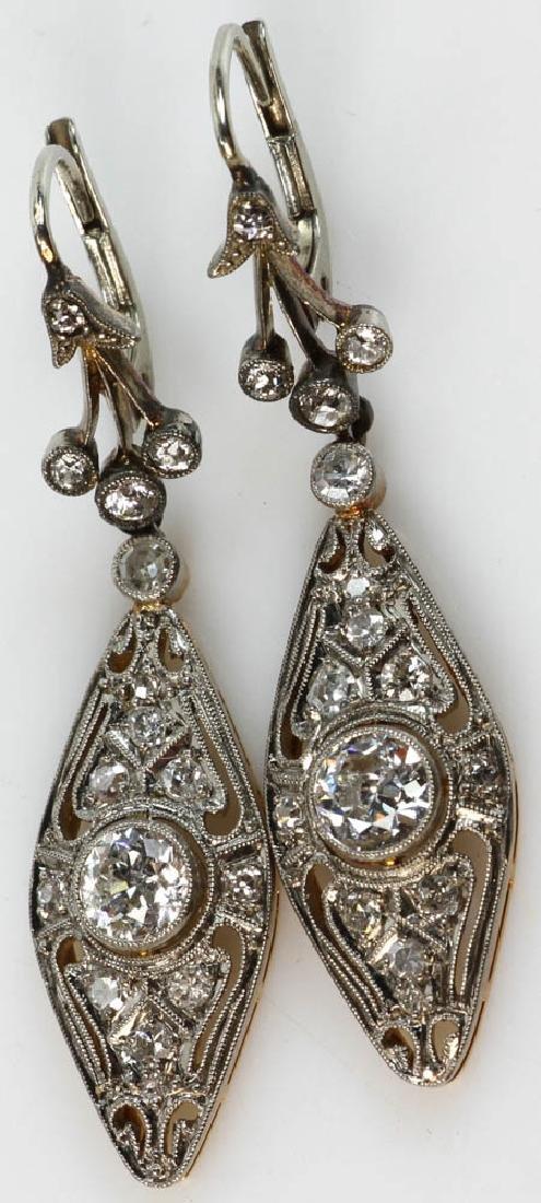 Pair of Antique 14k Gold Diamond Earrings