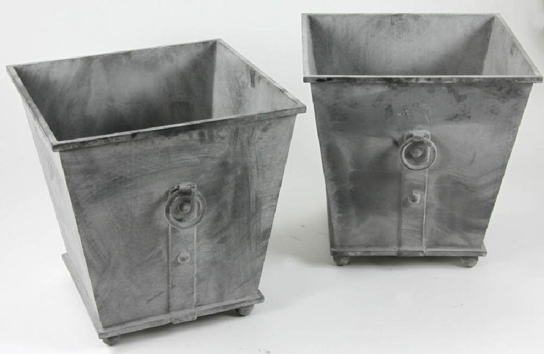 Pair of Georgian Style Square Urns - 2