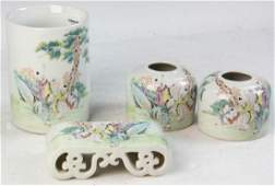 Group of Chinese Famille Rose Scholar Items