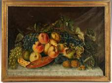 Victorian Still Life of Fruit, Oil on Canvas