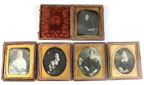 Five 1/6 Plate Daguerreotypes