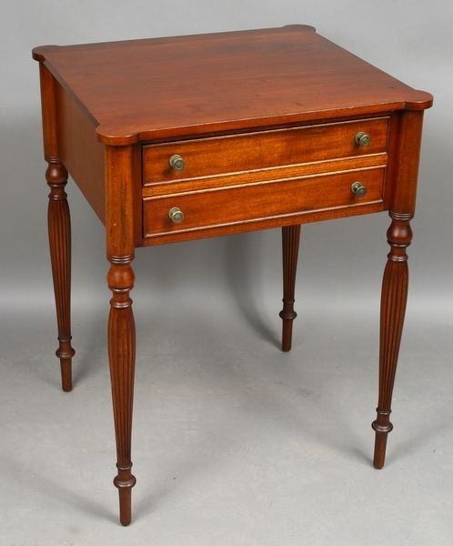 5004: Early 20th C. Sheraton Mahogany 2-Drawer Stand