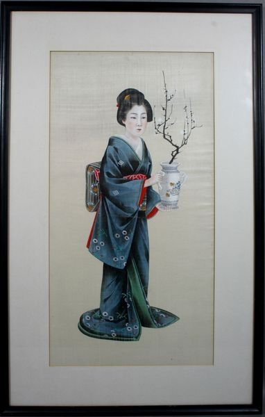 5008: 19th C. Japanese Painting on Silk & Rice Paper
