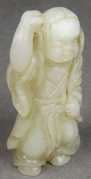 5019: 19th C. Chinese White Jade Figure of Prosperity