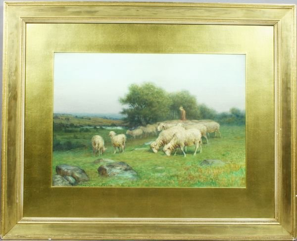 5021: Sgnd Francis Wheaton, Shepherd with Sheep, w/c