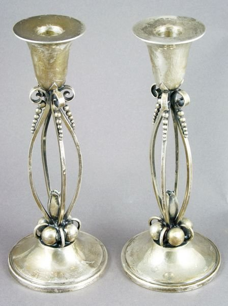 5022: Pair of 20thC Sterling Candlesticks, Jensen-style