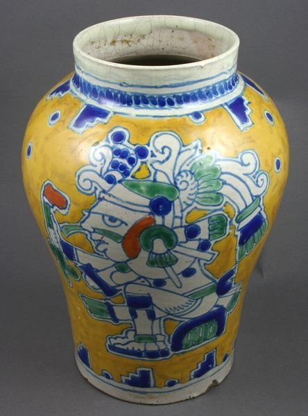 5069A: Early 20thC. Ysauro Uriarte Vase w/ Mayan Images