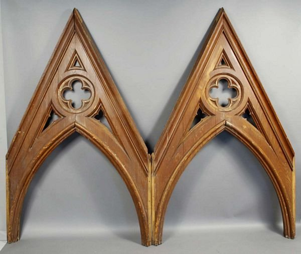 5185: Pair of 19th C. American Gothic Oak Arches
