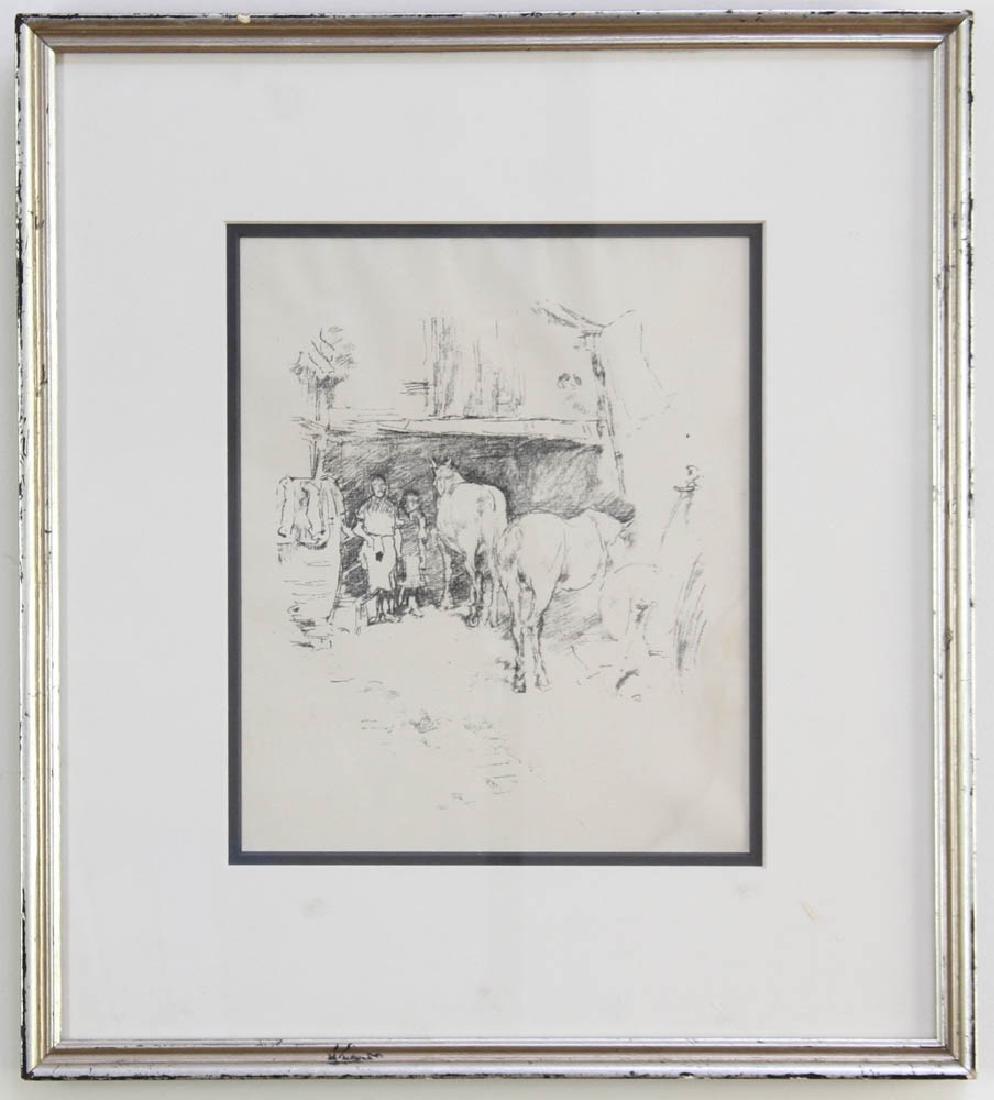 Horses in Barn, Print