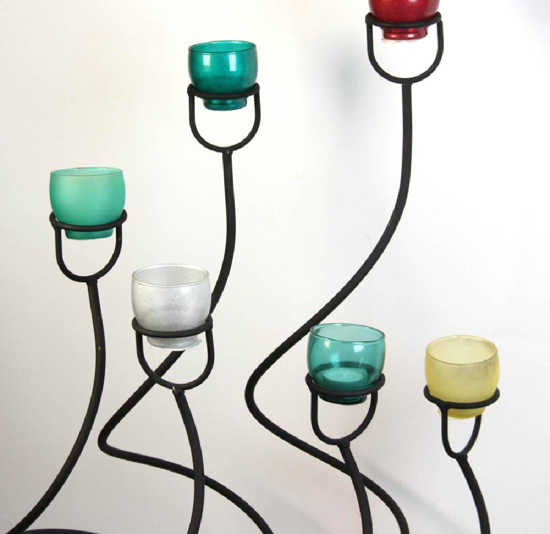 Candlestand with Colored Glass Votives - 3