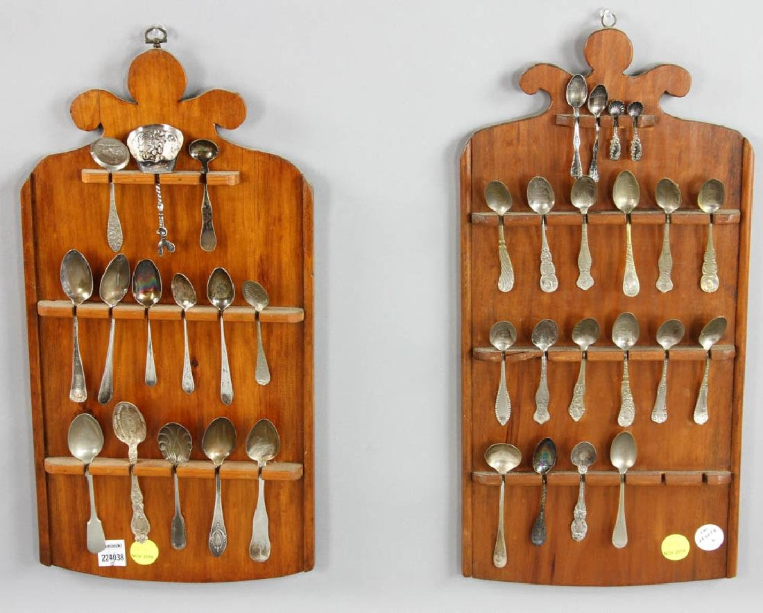 2 Spoon Racks with Silver and Non Silver Spoons