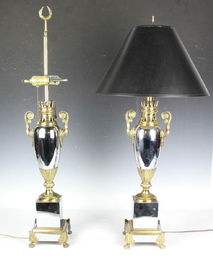 Pair of Brass Nickel Plated Table Lamps