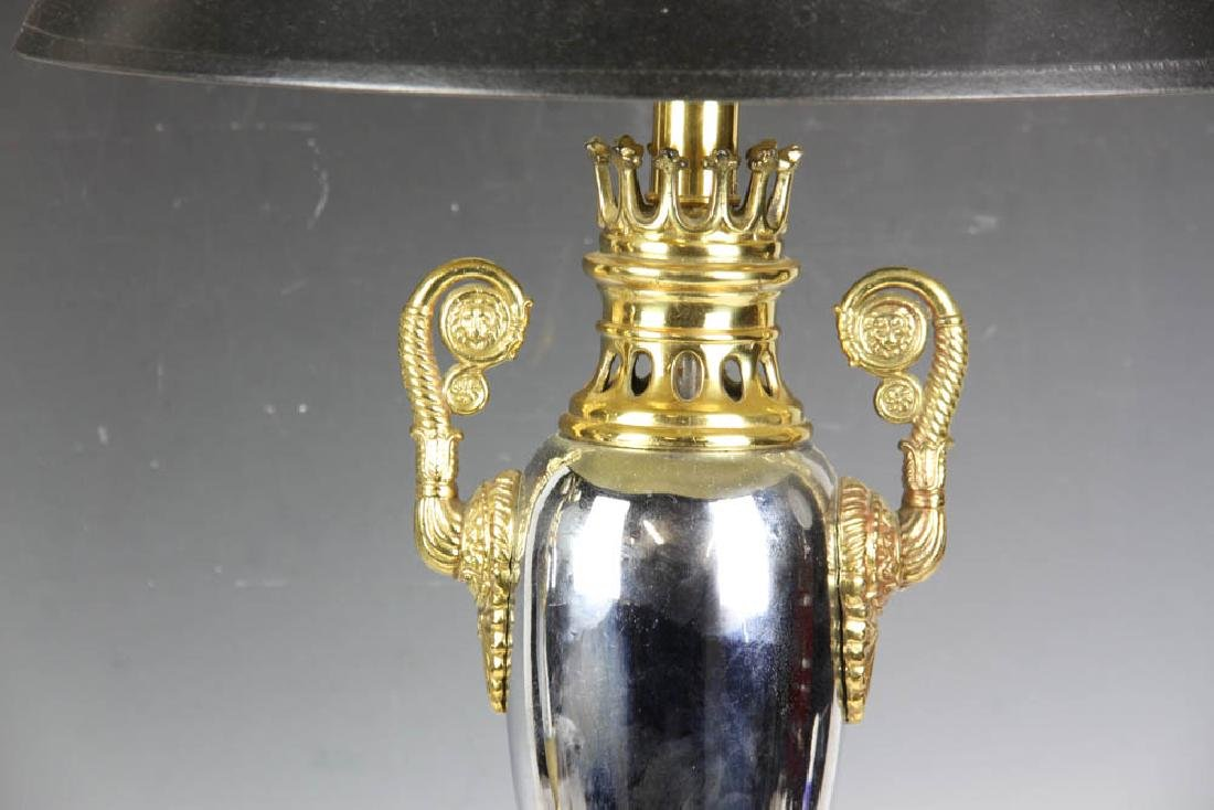 Pair of Brass Nickel Plated Table Lamps - 4