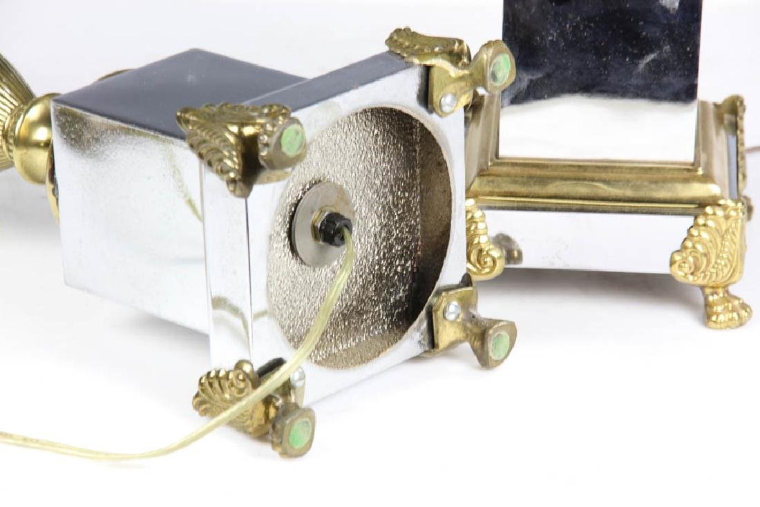 Pair of Brass Nickel Plated Table Lamps - 7