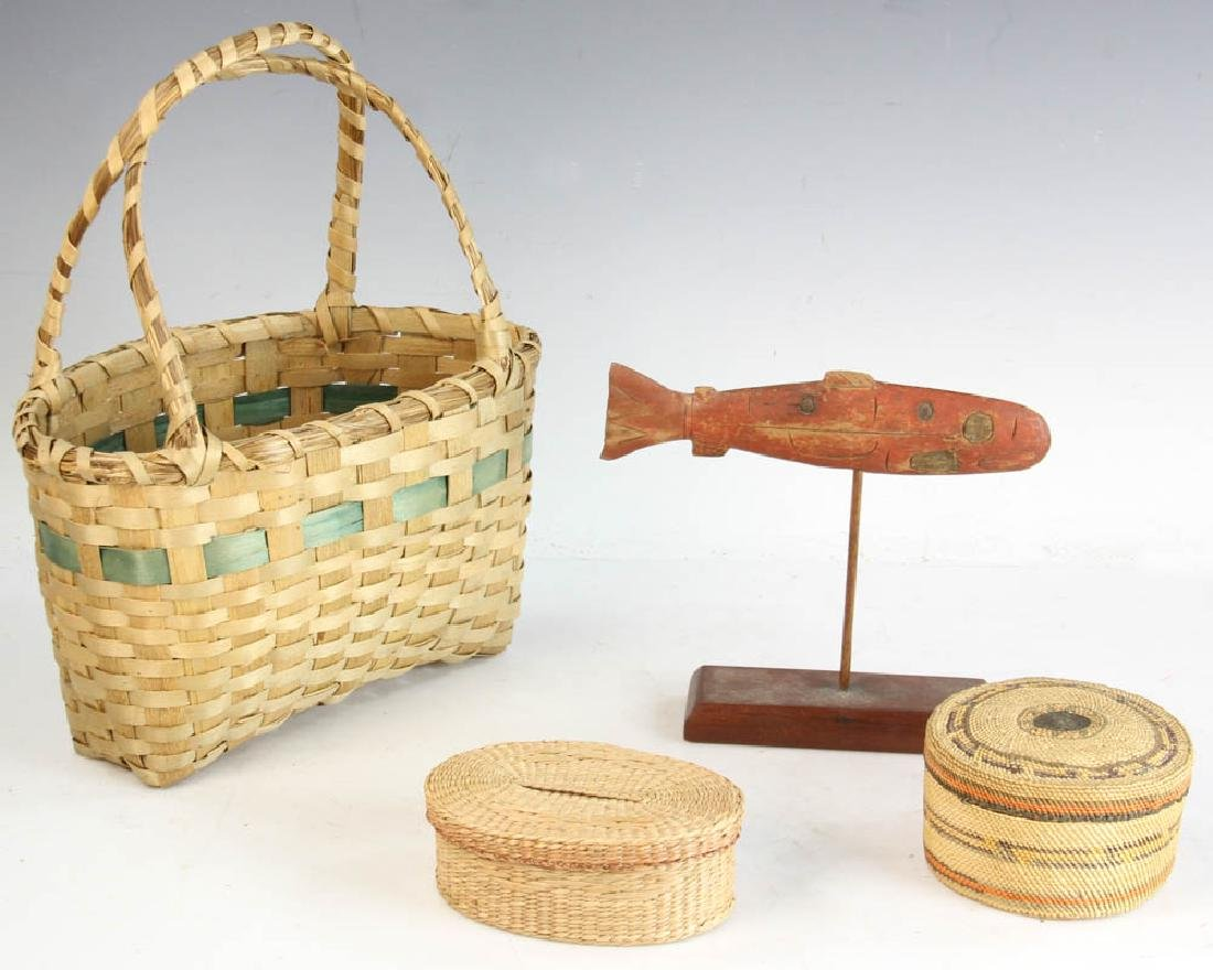 Three Native American Baskets and a Carving of Salmon