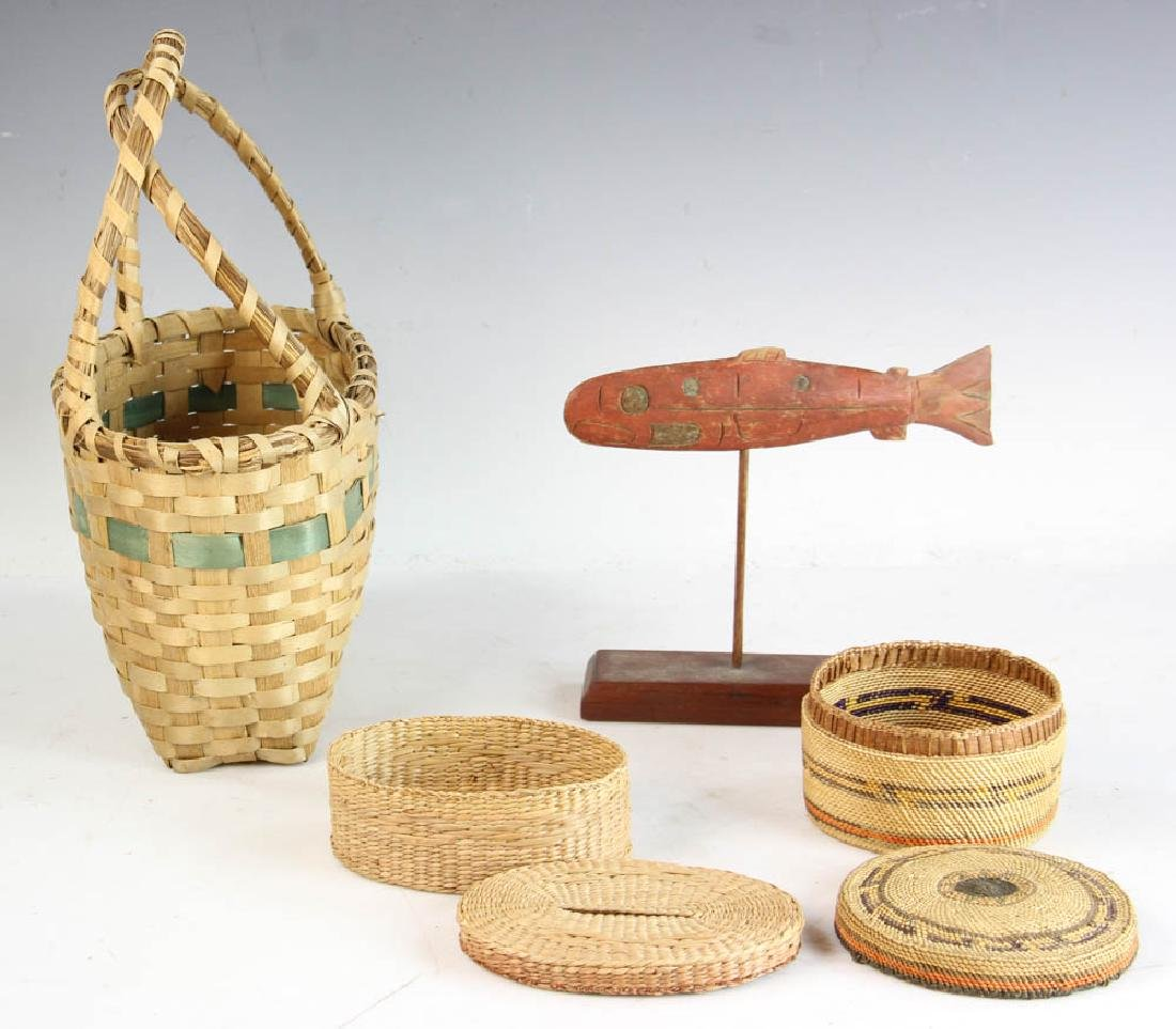 Three Native American Baskets and a Carving of Salmon - 2