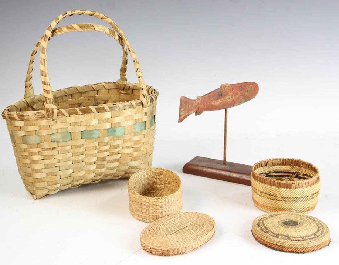 Three Native American Baskets and a Carving of Salmon - 3