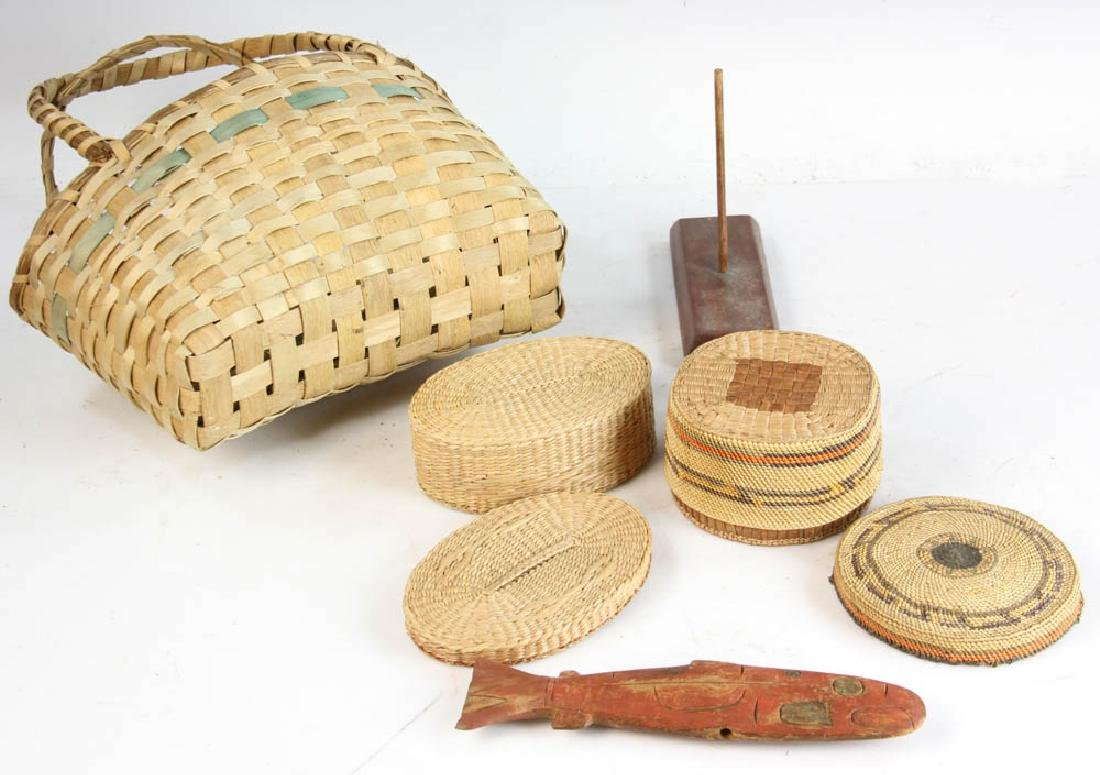 Three Native American Baskets and a Carving of Salmon - 4