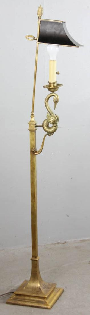 Solid Brass Floor Lamp with Tole Shade