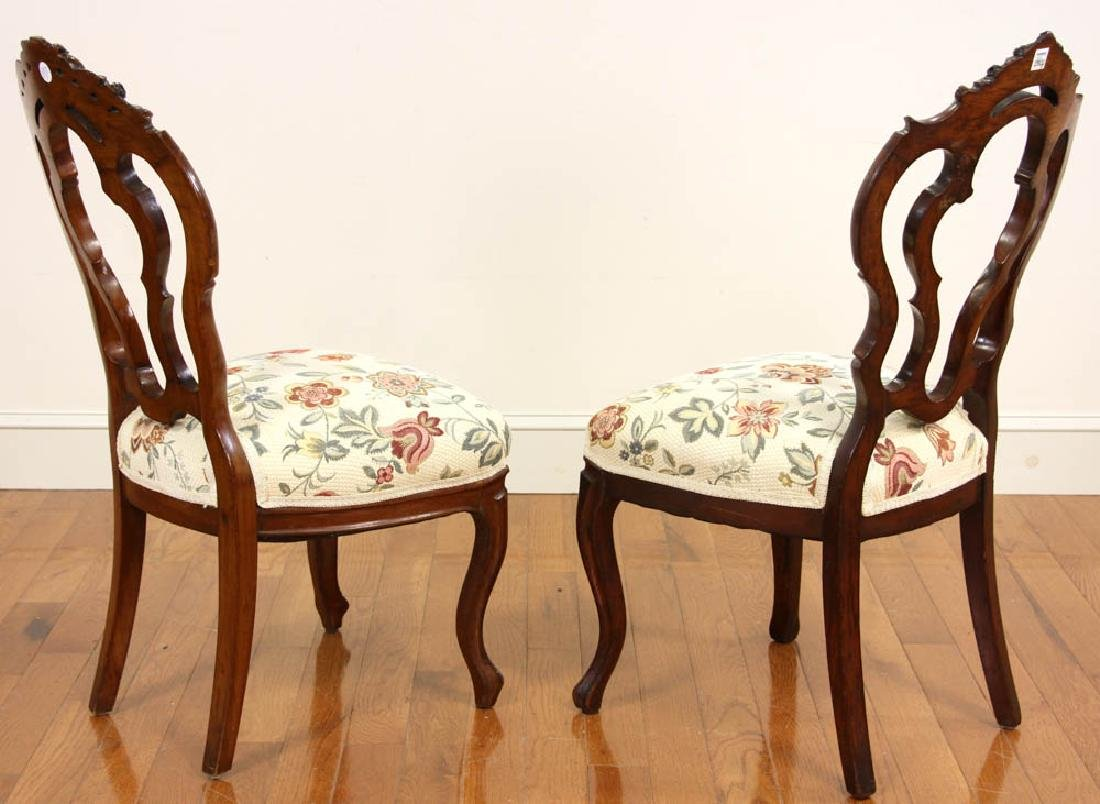 Pair of Victorian Walnut Side Chairs - 2