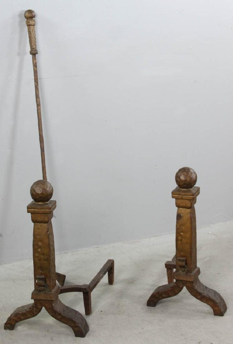 Cahill Arts and Crafts Fireplace Andirons - 2